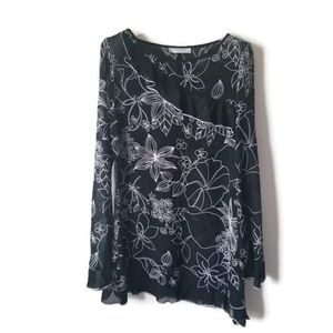 Kenzel Blouse sheer top tunic floral sz 40
